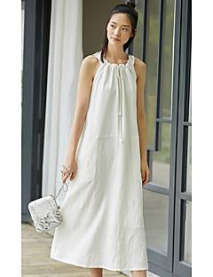 Kadın Günlük/Sade Salaş Elbise Solid,Kolsuz Kare Yaka Midi Polyester Yaz Düşük Bel Esnemez İnce