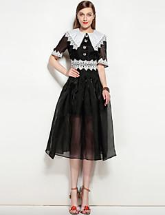 Kadın Parti Günlük/Sade Sevimli Sokak Şıklığı A Şekilli Elbise Solid,Kısa Kollu Gömlek Yaka Midi Diz-boyu Polyester Splandeks Bahar Yaz