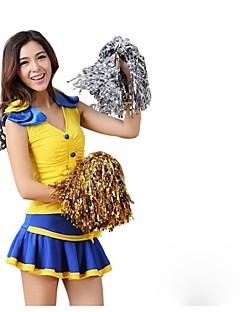 Fantasias para Cheerleader Roupa Mulheres Apresentação Poliéster Adornos 2 Peças Sem Mangas Alto Saias Blusas