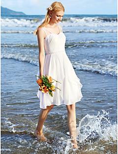LAN TING BRIDE A-Şekilli Düğün elbisesi - Şık & Modern Küçük Beyaz Elbiseler Diz Boyu Spagetti Askılı Şifon ileBoncuk Kırmalı Dantel