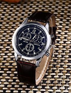 Herrn Sportuhr Modeuhr Armbanduhren für den Alltag Chinesisch Quartz Wasserdicht Leder Band Elegante Bequem Kreativ Schwarz