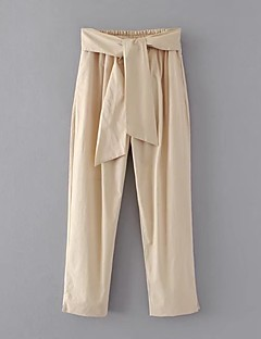 レディース ストリートファッション ミッドライズ ルーズ 伸縮性 チノパン パンツ ソリッド フラワー