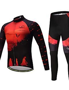 Calça com Camisa para Ciclismo Unisexo Manga Longa Moto Conjuntos de Roupas Térmico/Quente Grossa Poliéster Silicone Tosão LYCRA® Inverno