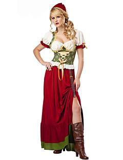 Tjenestepige Kostumer Oktoberfest Cosplay Kostumer Festkostume Festival/Højtider Halloween Kostumer Rød Ensfarvet Kjole Hatte Halloween