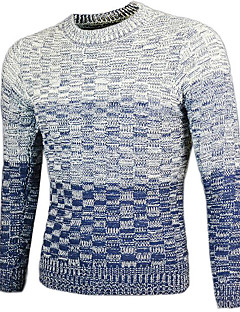 Normal Pullover Avslappet Herre,Fargegradering Rund hals Langermet Akryl Høst Medium Mikroelastisk