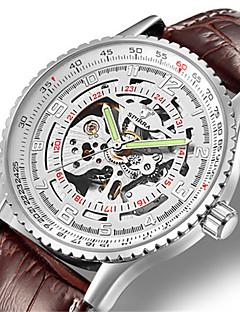 男性用 スケルトン腕時計 機械式時計 日本産 自動巻き 夜光計 レザー バンド ブラック ブラウン