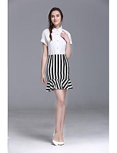 Damen Solide Gestreift Gestreift Röcke Modisch Formal Shirt Rock Anzüge,Hemdkragen Sommer Kurzarm strenchy