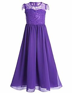 נשף באורך הקרסול שמלה לנערת הפרחים  - שיפון עם תכשיטים עם ריקמה תחרה סלסולים