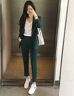 Feminino Camisa Calça Conjuntos Trabalho Simples Primavera,Sólido Gola Peter Pan Manga Longa
