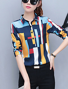 Women's Work Street chic Spring /Fall Fashion Slim Thin Shirt Rainbow Shirt Collar Long Sleeve Polyester Medium