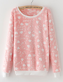 Women's Casual/Daily Sweatshirt Print Round Neck Micro-elastic Rayon Long Sleeve Winter