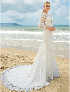 LAN TING BRIDE Trumpet / Mermaid Wedding Dress Floral Lace Sweep / Brush Train Jewel Lace with Lace Ruche