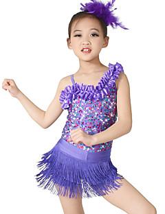 Jazz justaucorps Tutus & Jupes Gants de danse Femme Enfant Spectacle Paillété Lycra 4 Pièces Sans manche Taille moyenneCollant Pantalon