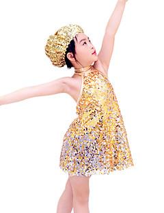 Jazz Roupa Crianças Actuação Elastano Poliéster Lantejoulas 3 Peças Sem Mangas Natural Vestido Tiaras Calções