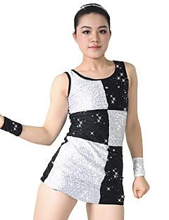 Jazz Vestidos Mulheres Crianças Actuação Elastano Poliéster Lantejoulas 4 Peças Sem Mangas Natural Vestido Braceletes Calções