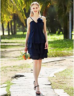 LAN TING BRIDE Knee Length Spaghetti Straps Bridesmaid Dress Sleeveless Chiffon