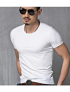 メンズ プラスサイズ Tシャツ,ヴィンテージ ラウンドネック ソリッド コットン 半袖