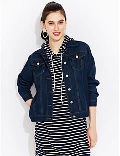 Women's Casual/Daily Street chic Spring Denim Jacket,Solid Shirt Collar Long Sleeve Short Cotton