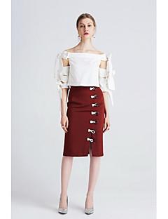Damen Vintage Einfach Street Schick Alltag Ausgehen Lässig/Alltäglich Knielänge Röcke Bodycon,Klettverschluß einfarbig Sommer