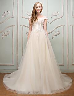 プリンセス・オフ・ザ・ショルダー・コート・トレインレース・チュール・イブニング・ドレス・フラワー