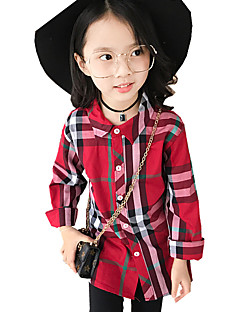 Girls' Print Plaid Shirt,Cotton Fall All Seasons Long Sleeve Regular