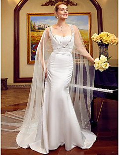 Mermaid / Trumpet Sweetheart Cathedral Train Lace Satin Tulle Wedding Dress with Beading by LAN TING BRIDE®