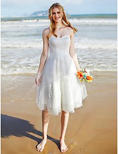 A-linje Kjære Knelang Blonder Tyll Bryllupskjole med Blonder av LAN TING BRIDE®