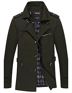 Masculino Jaqueta Casual Vintage Outono Inverno,Sólido Longo Algodão Colarinho de Camisa Manga Longa