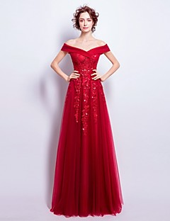 Ball Gown Off-the-shoulder Floor Length Tulle Engagement Party Prom Formal Evening Dress withBeading Appliques Crystal Detailing Ruching