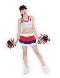 Fantasias para Cheerleader Roupa Mulheres Apresentação Roupa de Malha Dobras em Cascata Recortes 2 Peças Sem Mangas Alto Saias Blusas