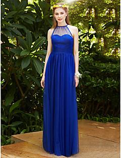 2017 LAN TING BRIDE Floor Length Jewel Bridesmaid Dress - See Through Elegant Sleeveless Tulle