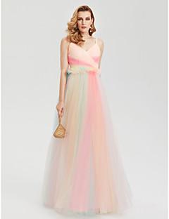 TS Couture Evento Formal Vestido - Color Block Estilo Celebridade Linha A Com Alças Finas Longo Tule com Cruzado Pregas
