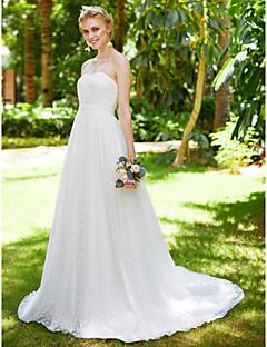 LAN TING BRIDE A-Şekilli Düğün elbisesi Piękno w prostocie Yere Kadar Kalp Yaka Dantelalar Tül ile Drape Dantel Kurdele