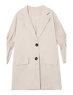 여성 솔리드 피터팬 카라 ¾ 소매 트렌치 코트,단순한 데이트 긴 면 봄 가을