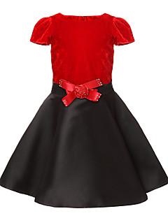 Mädchen Kleid Patchwork Baumwolle Polyester Frühling Herbst Kurzarm