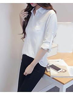 Damen Solide Einfach Ausgehen Hemd,Hemdkragen Langarm Baumwolle