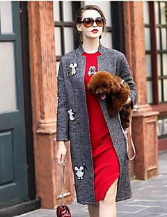 Damen Solide Druck Anspruchsvoll Lässig/Alltäglich Mantel,Ständer Winter Lange Ärmel Standard Wolle