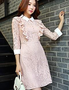 Feminino Evasê Rendas Vestido,Festa Feriado Para Noite Casual Trabalho Bandagem Sensual Vintage Sofisticado Sólido Colarinho de Camisa