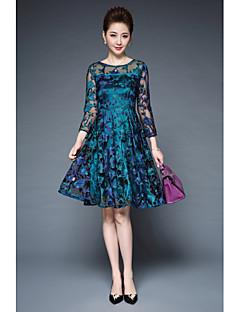 Damen Spitze Kleid-Lässig/Alltäglich Einfach Solide Rundhalsausschnitt Knielang 3/4 Ärmel Polyester Andere Sommer Mittlere Hüfthöhe