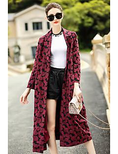 Damen Solide Druck Einfach Lässig/Alltäglich Trench Coat,Hemdkragen Herbst Lange Ärmel Lang Baumwolle Polyester