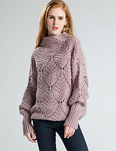 Damen Standard Pullover-Lässig/Alltäglich Einfach Solide Rollkragen Langarm Wolle Baumwolle Polyester Herbst Winter Dick Unelastisch