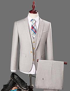 Herren Solide Einfach Arbeit Anzug,Hemdkragen Frühling Herbst Lange Ärmel Standard Baumwolle