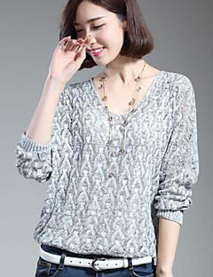 Normal Pullover Fritid/hverdag Dame,Ensfarget Trykt mønster Rund hals 3/4 ermer Polyester Vår Høst Tynn Medium Mikroelastisk