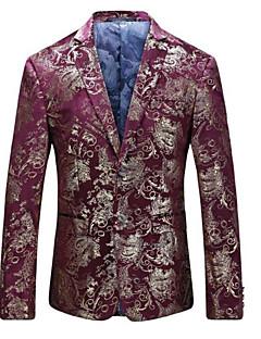 メンズ カジュアル/普段着 春 ブレザー,シンプル ピーターパンカラー 幾何学模様 レギュラー コットン 長袖