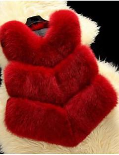 レディース カジュアル/普段着 秋 冬 ベスト,キュート Vネック ソリッド ショート フォックスファー ノースリーブ