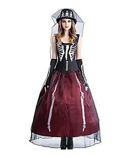 Costume Cosplay Decorațiuni de Halloween  Prințesă Schelet Fantomă Mireasă Festival/Sărbătoare Costume de Halloween Roșu/negru Vintage