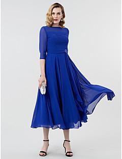 Linia -A Prințesă Bateau Neck Lungime Tea Georget Seară Formală Rochie cu Eșarfă / Panglică Broșă Cristal Ruching de TS Couture®