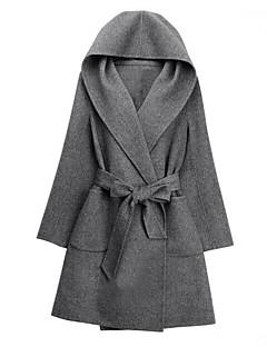 Langærmet Hætte Damer Lang Ensfarvet Vinter Simple Afslappet/Hverdag Trenchcoat,Polyester