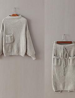 Dames Eenvoudig Schattig Actief Lente Zomer T-Shirt Rok Kostuums,Uitgaan Casual/Dagelijks Strand Effen Ronde hals Lange mouw