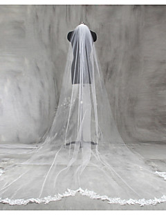 Bride Wedding White / Ivory Veil One-tier Chapel Veils Cathedral Veils Lace Applique Edge Lace Tulle